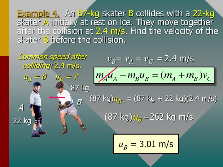 Common speed after colliding: