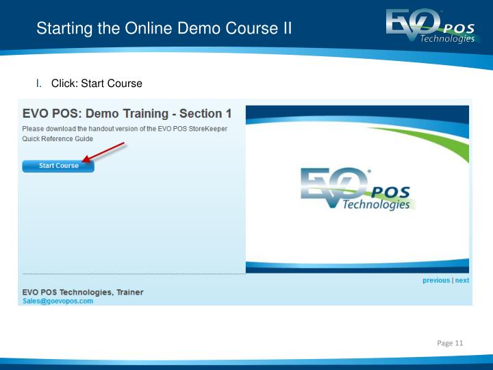 Starting the Online Demo Course II
