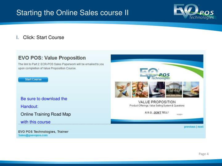 Starting the Online Sales course II