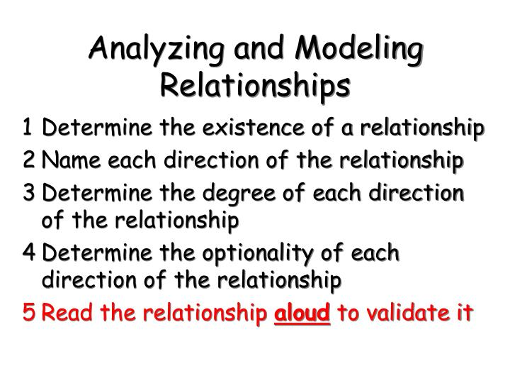 Analyzing and Modeling Relationships