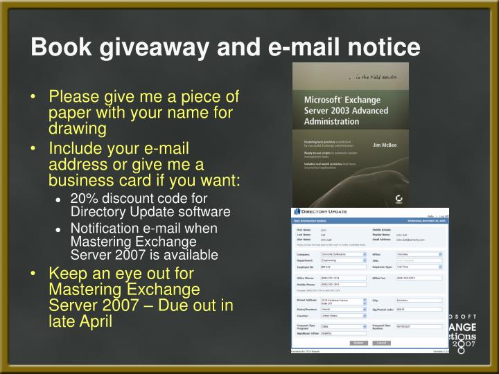 book giveaway and e mail notice n.