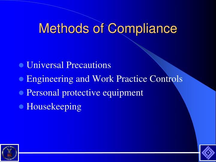 Methods of Compliance