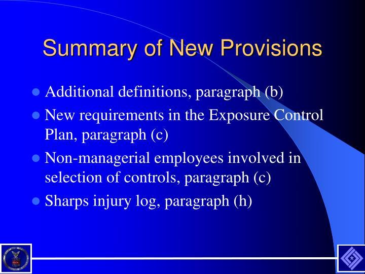 Summary of New Provisions