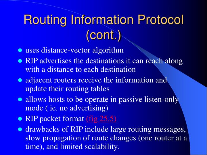 Routing Information Protocol (cont.)