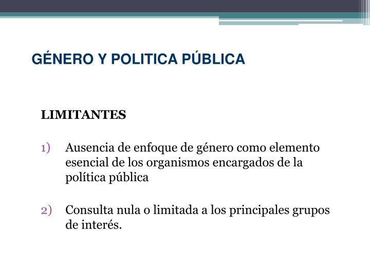 GÉNERO Y POLITICA PÚBLICA