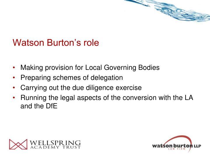 Watson Burton's role