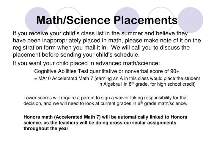 Math/Science Placements