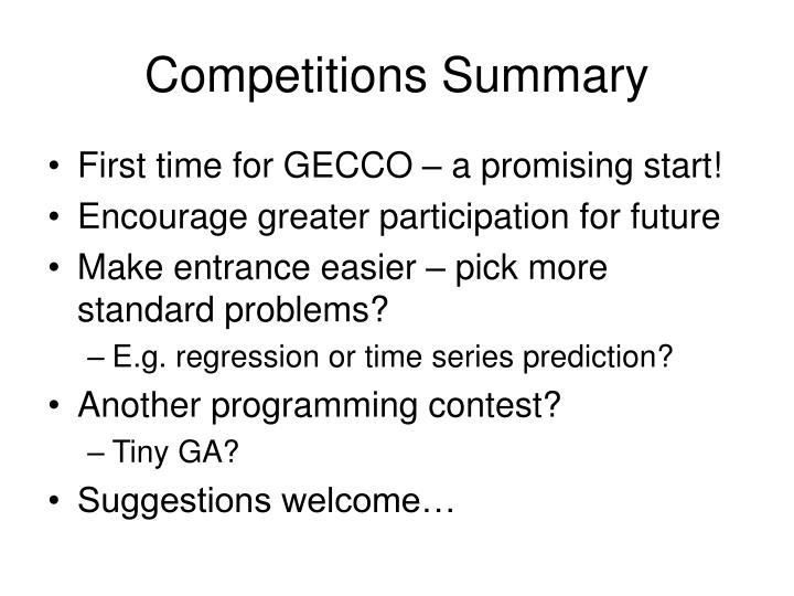 Competitions Summary
