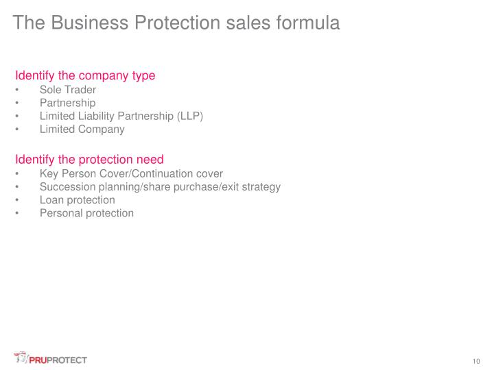 The Business Protection sales formula
