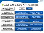acer 2011 and 2012 work programmes