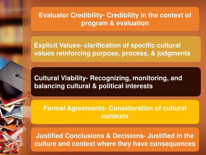 Evaluator Credibility- Credibility in the context of program & evaluation