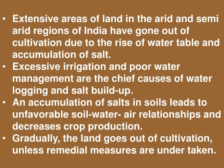 Extensive areas of land in the arid and semi arid regions of India have gone out of cultivation due ...