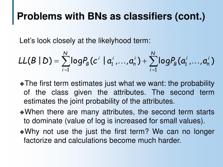 Problems with BNs as classifiers (cont.)
