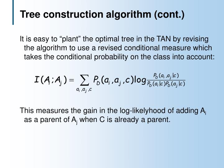 Tree construction algorithm (cont.)