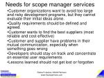 needs for scope manager services