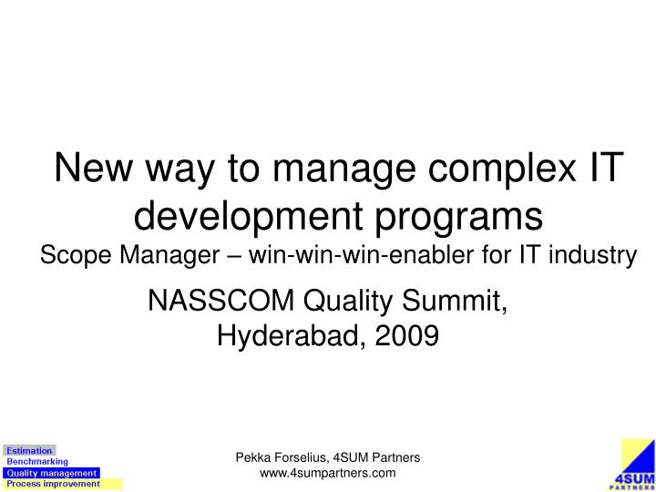 new way to manage complex it development programs scope manager win win win enabler for it industry n.