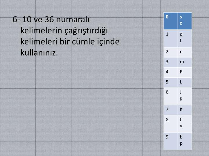 6- 10 ve 36 numaralı kelimelerin çağrıştırdığı kelimeleri bir cümle içinde kullanınız.