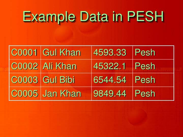 Example Data in PESH