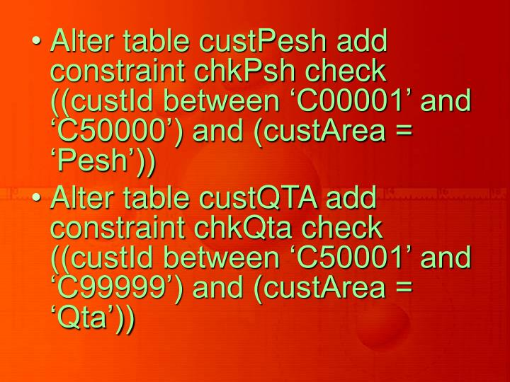 Alter table custPesh add constraint chkPsh check ((custId between 'C00001' and 'C50000') and (custArea = 'Pesh'))