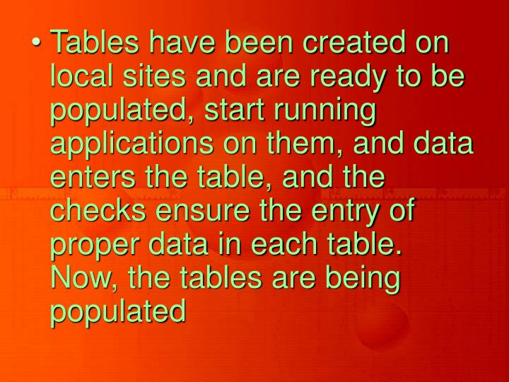 Tables have been created on local sites and are ready to be populated, start running applications on them, and data enters the table, and the checks ensure the entry of proper data in each table. Now, the tables are being populated