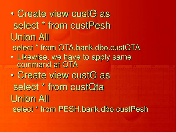 Create view custG as
