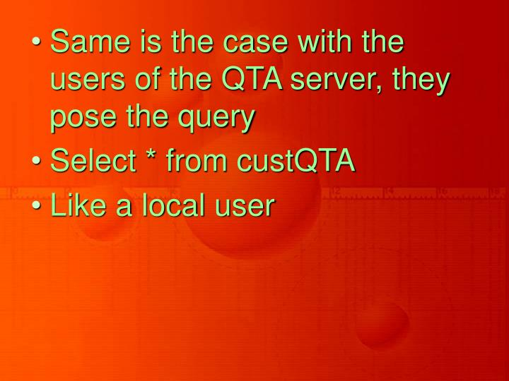Same is the case with the users of the QTA server, they pose the query