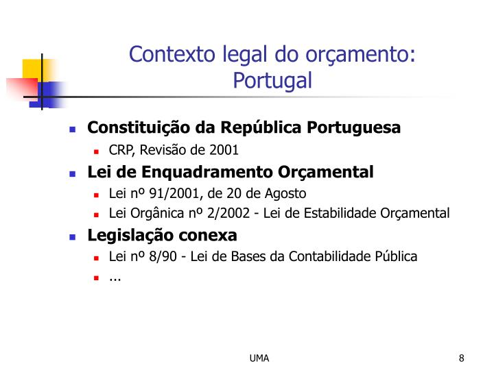 Contexto legal do orçamento: