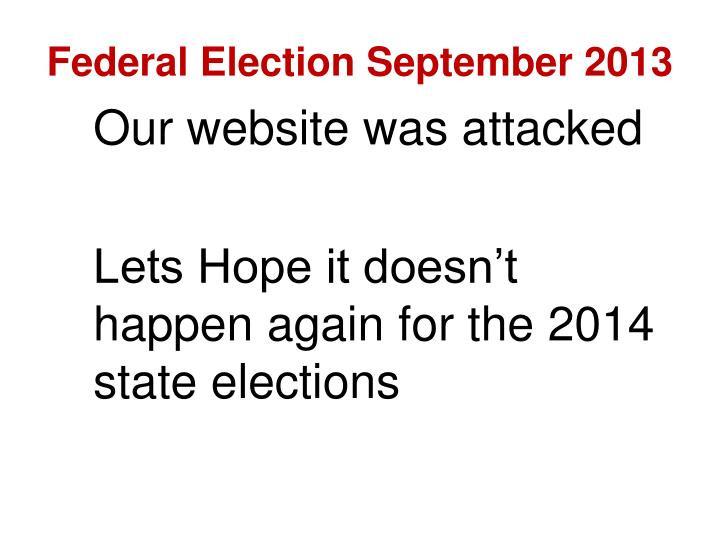 Federal Election September 2013