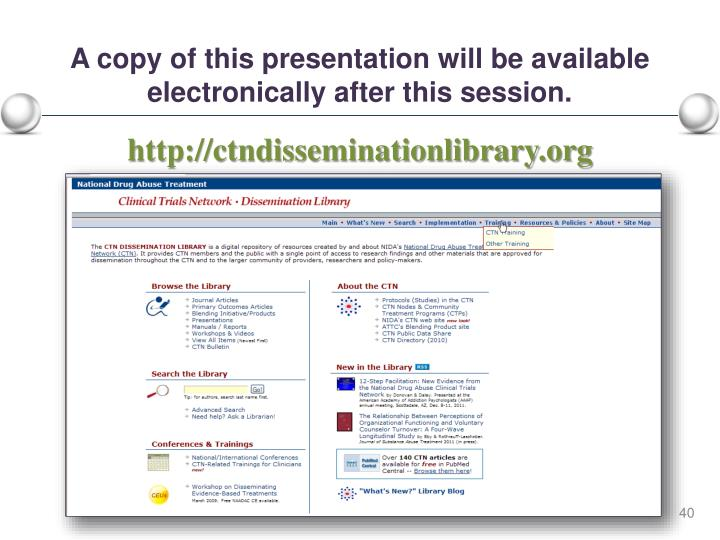 A copy of this presentation will be available electronically after this session.