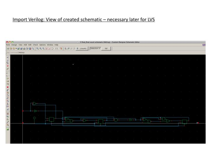 Import Verilog: View of created schematic – necessary later for LVS