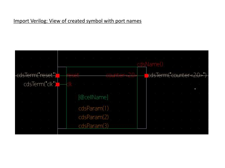 Import Verilog: View of created symbol with port names