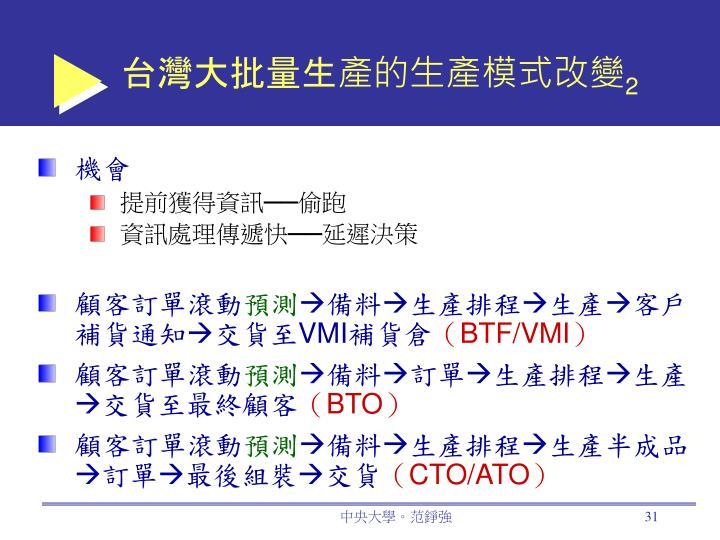 台灣大批量生產的生產模式改變