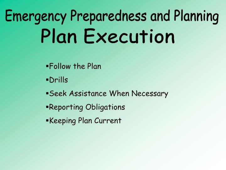 Emergency Preparedness and Planning