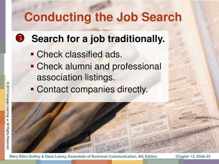 Conducting the Job Search