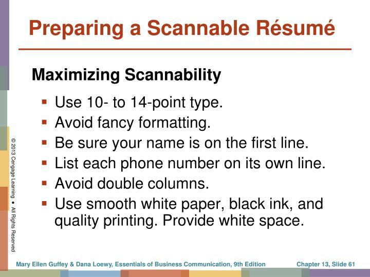 Preparing a Scannable Résumé