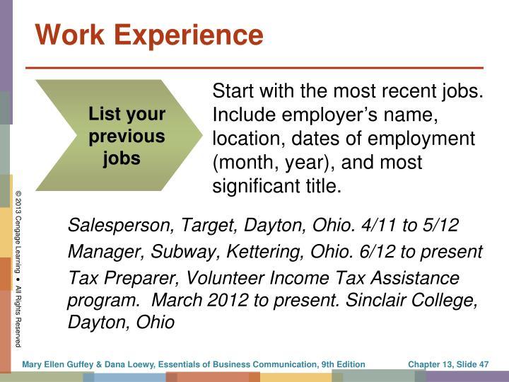 Salesperson, Target, Dayton, Ohio. 4/11 to 5/12