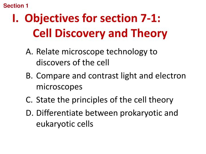 i objectives for section 7 1 cell discovery and theory