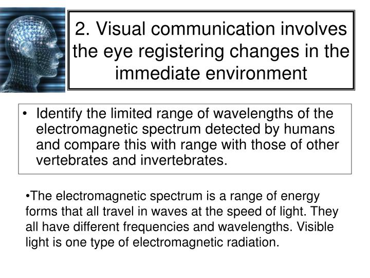 2. Visual communication involves the eye registering changes in the immediate environment