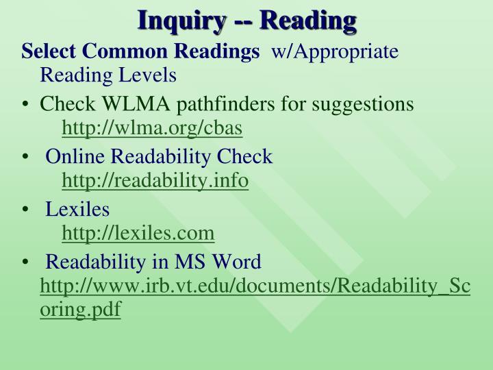 Inquiry -- Reading