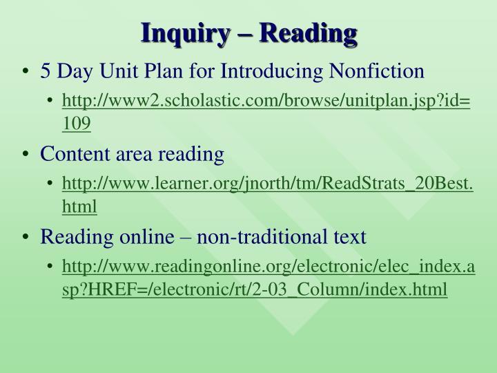 Inquiry – Reading