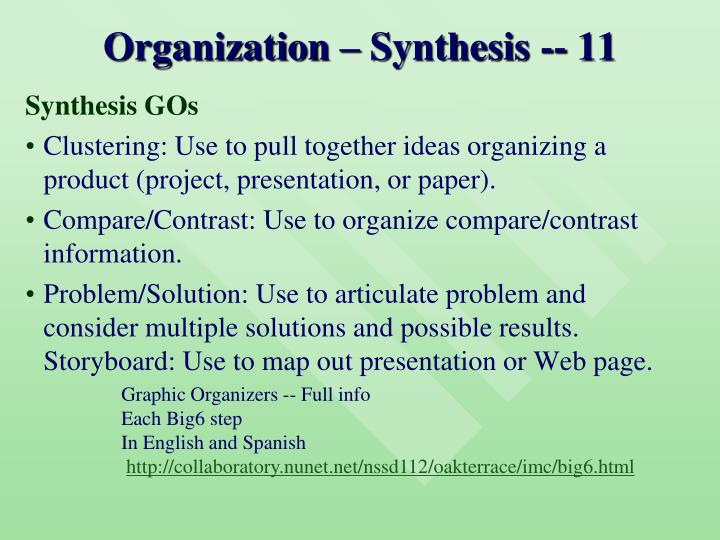 Organization – Synthesis -- 11