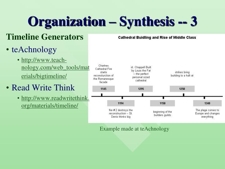 Organization – Synthesis -- 3