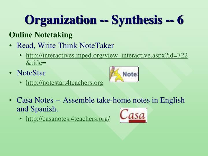 Organization -- Synthesis -- 6