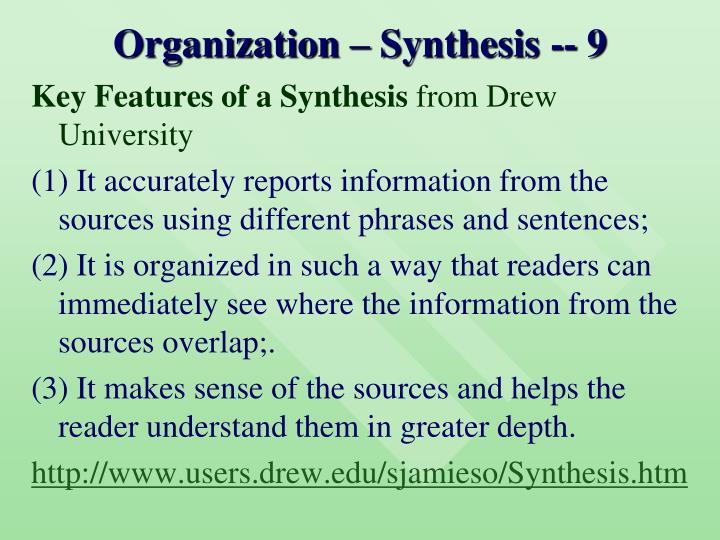 Organization – Synthesis -- 9