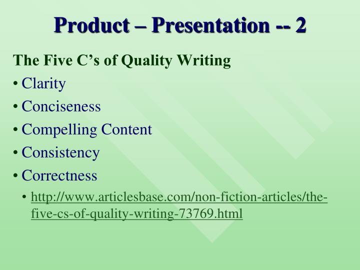 Product – Presentation -- 2