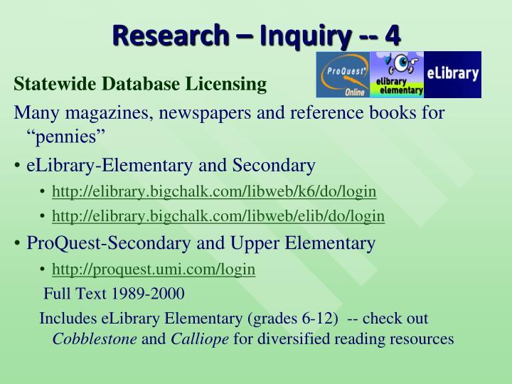 Research – Inquiry -- 4
