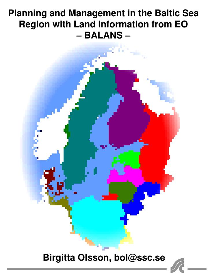 planning and management in the baltic sea region with land information from eo balans n.