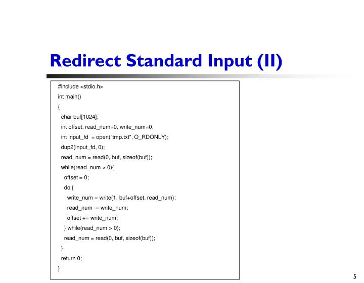 Redirect Standard Input (II)