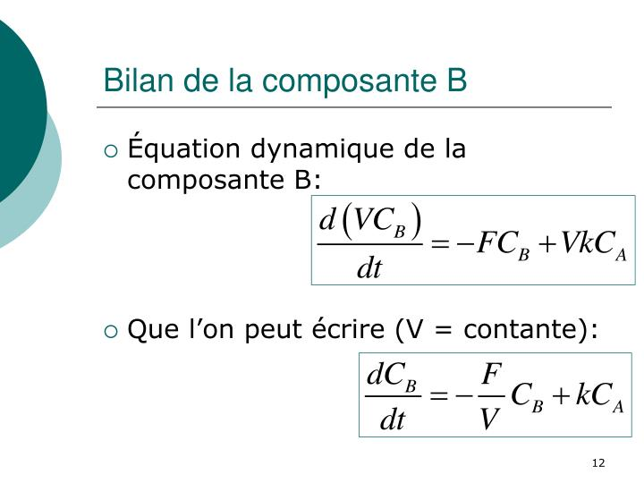 Bilan de la composante B