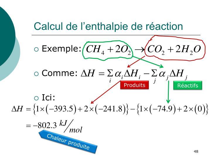 Calcul de l'enthalpie de réaction